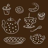 установите чай эскиза Стоковое Фото