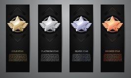 Установите черных знамен, звезды золота, платины, серебра и бронзы, иллюстрации вектора L иллюстрация штока