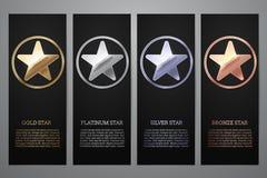 Установите черных знамен, звезды золота, платины, серебра и бронзы, иллюстрации вектора L иллюстрация вектора