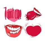 Установите чертежей в векторе, красном цвете, улыбках, губах, сердцах, на день Валентайн иллюстрация штока
