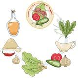 Установите чертежей эскиза Ингредиенты для вегетарианских пирожков нутов Мука, соль, постное масло, нуты, луки, чеснок, se иллюстрация вектора
