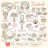 Установите чертежи морепродуктов для меню дизайна, рецептов, упаковывая и рекламируя Стоковое фото RF
