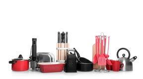 Установите чистых изолированного cookware, утварей и приборов стоковые изображения rf