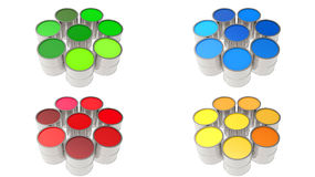 Установите чонсервные банкы краски краска цвет Стоковая Фотография