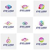 Установите шаблона вектора идеи проекта логотипа глаза Красочный значок средств массовой информации Идея концепции логотипа зрени иллюстрация штока