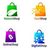 Установите шаблонов дизайна логотипа магазина бесплатная иллюстрация