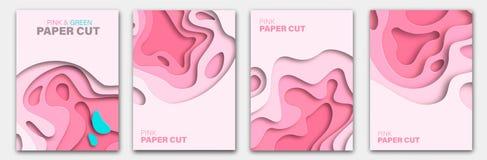 Установите шаблоны знамени с формами отрезка бумаги Яркий современный абстрактный дизайн пурпурово также вектор иллюстрации притя иллюстрация вектора