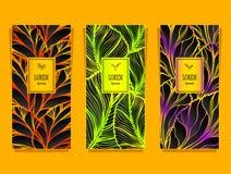 Установите шаблон для пакета от роскошной предпосылки сделанной листьями фольги в красочном бесплатная иллюстрация