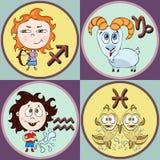 Установите шарж знака зодиака, Стрелца, козерог, водолея, Pisces Покрашенные смешные астрологические характеры и символы в кругло иллюстрация штока