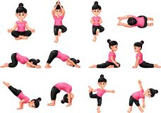 Установите шарж спорта йоги на белой предпосылке Стоковое Изображение