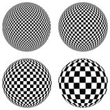 Установите шарики 3D с квадратами черно-белого на самолете, сфере, Стоковая Фотография RF