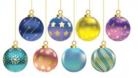 Установите шариков рождества вектора красочных с орнаментами украшения изолированные собранием реалистические Иллюстрация вектора бесплатная иллюстрация
