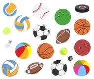 Установите шариков спорта вектора реалистических для футбола, футбола, рэгби, тенниса, волейбола, баскетбола, бейсбола, волейбола иллюстрация вектора