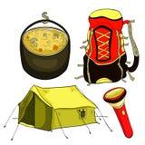 Установите шатер для trekking в природе с illustratio вектора рюкзака Стоковые Фотографии RF