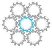 Установите 7 шестерней серого цвета и сини графика иллюстрация штока
