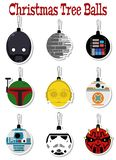 Установите шлемов героев фильма стикеров украшений рождественской елки иллюстрация штока