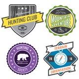Установите экспедиции горы значков и логотип эмблемы звероловства Стоковое Фото