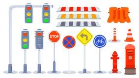 Установите элемента движения, элемента города/парка/дороги, светофора, пластиковых барьеров, конусов движения, дорожного знака, д бесплатная иллюстрация