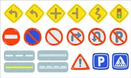 Установите элемента дорожного знака, собрания знака Движени-дороги, необходимого, запрет и информационный поток, изолированные об иллюстрация вектора