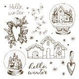Установите элементов зимы рождества вычерченные снежинки руки Сердце игрушки рождественской елки, глобус снега с внутренностью до стоковое фото rf