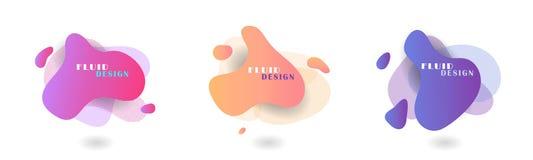 Установите элементов конспекта современных графических Формы жидкого цвета абстрактные геометрические E иллюстрация вектора