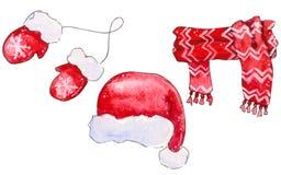 Установите элементов красной шляпы, шарфа, mittens иллюстрация штока