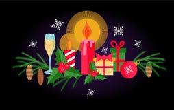 Установите элементов рождества и Нового Года плоских на черной предпосылке иллюстрация вектора
