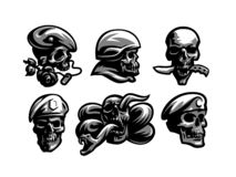 Установите эмблем черепа иллюстрация вектора