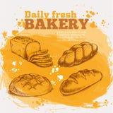 Установите эскизы свежего хлеба Иллюстрация вектора