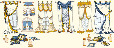 Установите эскиз - draperies - покрасьте голубой желтый цвет Стоковые Изображения RF