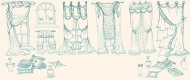 Установите эскиз - draperies - цвет голубой иллюстрация штока