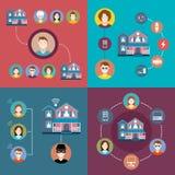 Установите элементы дома infographics умного Стоковое Изображение RF