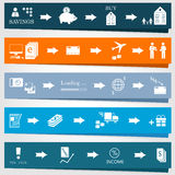 Установите элементы infographics и диаграммы бизнес-процессов Стоковые Изображения RF