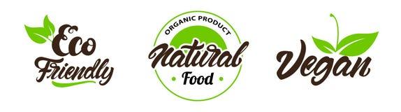 Установите ярлыков eco, логотипов Vegan, био, естественный в помечать буквами стиль r иллюстрация вектора