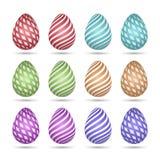 Установите яя праздника пасхи Красочный с белыми картинами, нашивками и тенью Элементы вектора на изолированной предпосылке иллюстрация вектора