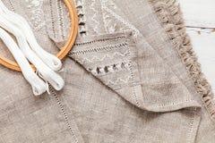 Установите для вышивки с цветом белизны потока Стоковые Изображения RF