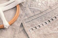 Установите для вышивки с цветом белизны потока Стоковая Фотография RF