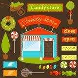 Установите для того чтобы создать магазин конфеты Стоковые Фото