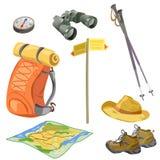 Установите для туриста, элементов для hikers Стоковые Изображения
