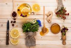 Установите для чая вытрезвителя травяного Стоковые Фото