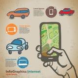 Установите для infographics на навигации на мобильных устройствах, smartphone Стоковое фото RF