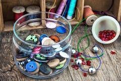 Установите для needlework вышитый бисером Стоковые Изображения RF
