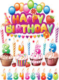 Установите для поздравительых открыток ко дню рождения Стоковое фото RF