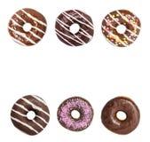 Установите Donuts на белой предпосылке, сортированные Donuts стоковое фото rf