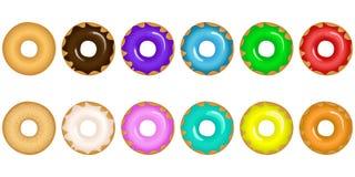 Установите donuts с различными замороженностями иллюстрация вектора