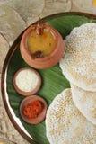 Установите Dosa - блинчик от южной Индии Стоковая Фотография