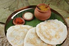 Установите Dosa - блинчик от южной Индии Стоковые Изображения