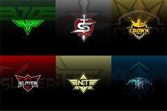 Установите Esport/логотип спорта с предпосылкой иллюстрация штока