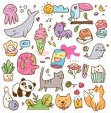 Установите kawaii doodles элемент дизайна бесплатная иллюстрация
