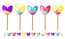 Установите multicolor lollypops в кисловочных цветах на ручки с границей потехи изолированной на белой предпосылке иллюстрация штока